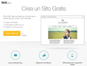 questa immagine mostra uno screenshot di wix che è un sito internet per creare siti web gratis