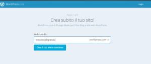 questa immagine mostra uno screenshot di wordpress che è il Content Management System per creare siti web gratis