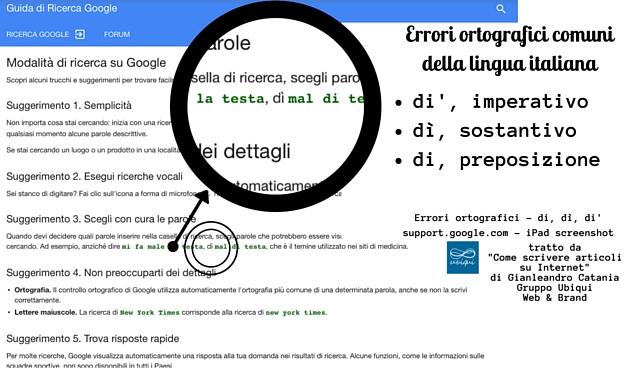 questa immagine mostra uno degli errori ortografici comuni della lingua italiana: di è una preposizione, dì è un sostantivo, di' è un imperativo